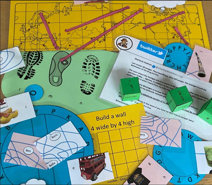 Escape room home game materials